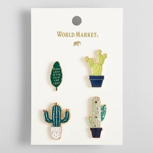Cost Plus World Market Jewelry - Enamel pins 4pc set. (Plants)